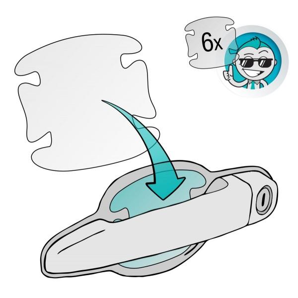 Lackschutzfolie für Türgriffmulden, Griffmulden, Autogriffe und Griffschalen - selbstklebend, transparent, 85x85mm, 6er Set