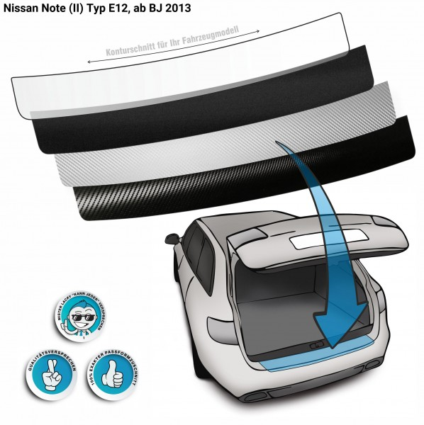 Lackschutzfolie Ladekantenschutz passend für Nissan Note (II) Typ E12, ab BJ 2013