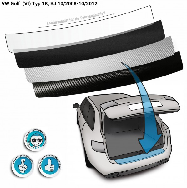 Lackschutzfolie Ladekantenschutz passend für VW Golf (VI) Typ 1K, BJ 10/2008-10/2012