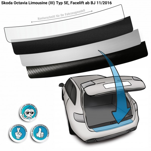 Lackschutzfolie Ladekantenschutz passend für Skoda Octavia Limousine (III) Typ 5E, Facelift ab BJ 11/2016