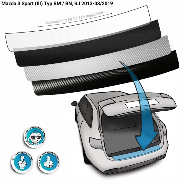 Lackschutzfolie Ladekantenschutz passend für Mazda 3 Sport (III) Typ BM / BN, BJ 2013-03/2019