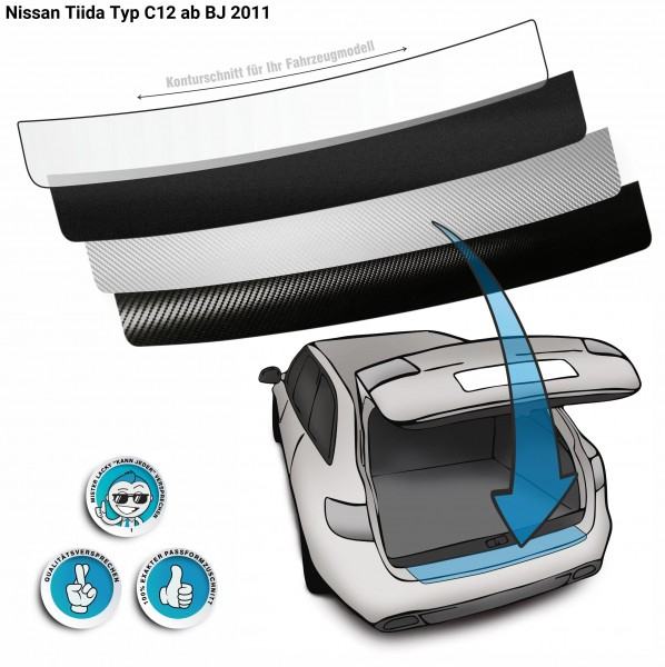 Lackschutzfolie Ladekantenschutz passend für Nissan Tiida Typ C12 ab BJ 2011